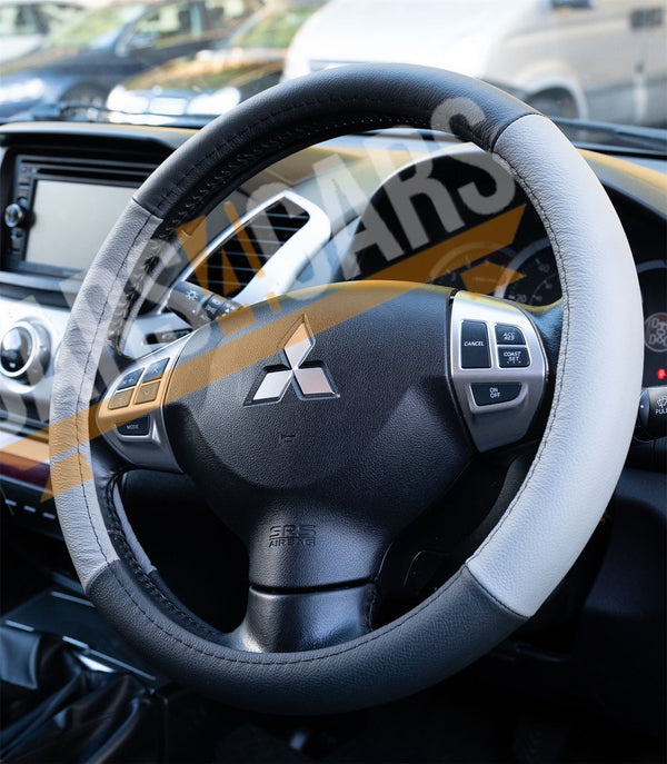 Grey Black Leather Stitched Steering Wheel Cover for Jaguar XJ Saloon All Years - UKB4C