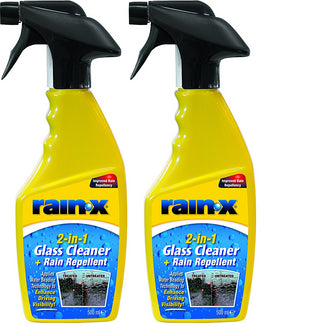 2x Rain-X Rain Repellent 2in1 Windscreen Glass Cleaner 500ml Trigger Spray Rainx - UKB4C