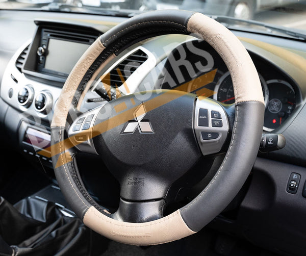 Beige Black Leather Stitched Steering Wheel Cover Renault Florence Saloon 12-On - UKB4C