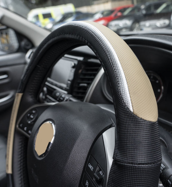 UKB4C Beige & Silver Leather Look Stitched Steering Wheel Cover for Renault Espace All Models & Michelin Air Freshener - UKB4C