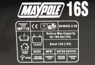 New Maypole MP716 12A Metal Battery Charger 12/24V Fast/Boost Mode Robust Steel - UKB4C