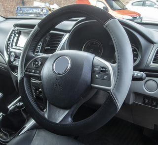 Simply Steering Wheel Cover Black & Grey Suede Leather Look 37-39cm Diameter Universal Fit Protection - Bars4Cars