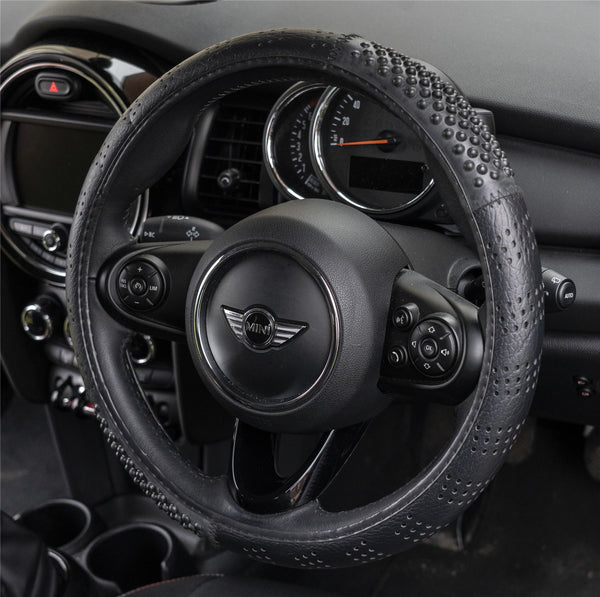 Black Smooth Massage Car Steering Wheel Cover Anti Slip Protection BMW Mini BMW Mini Clubman Convertible Cooper Countryman Coupe Hatchback Paceman Roadster - UKB4C