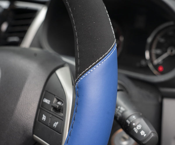 UKB4C Blue Leather Look Stitched Steering Wheel Cover for Citroen C3 Pluriel 03-10 & Michelin Air Freshener - UKB4C