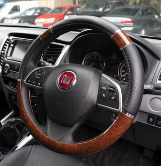 UKB4C Wood Effect & Black Luxury Steering Wheel Cover for Fiat Punto All Years - UKB4C
