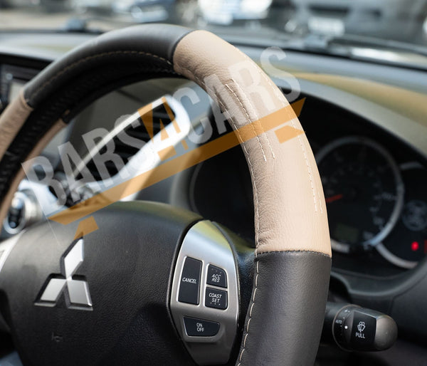 Beige Black Leather Stitched Steering Wheel Cover for Dodge Challenger - UKB4C