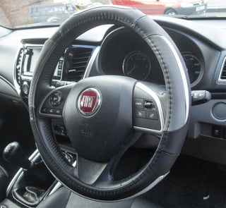 Simply Steering Wheel Cover Silver Grey & Black Suede Leather Look 37-39cm Diameter Universal Fit Protection - Bars4Cars