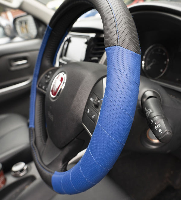 UKB4C Blue Leather Look Stitched Steering Wheel Cover for Alfa Romeo 75 86-92 & Michelin Air Freshener - UKB4C
