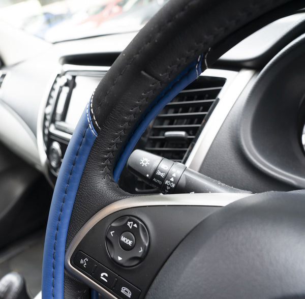 UKB4C Blue Leather Look Stitched Steering Wheel Cover for Peugeot 308 07-On & Michelin Air Freshener - UKB4C