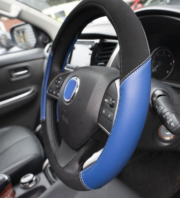 UKB4C Blue Leather Look Stitched Steering Wheel Cover for Dacia Logan Mcv 13-On & Michelin Air Freshener - UKB4C