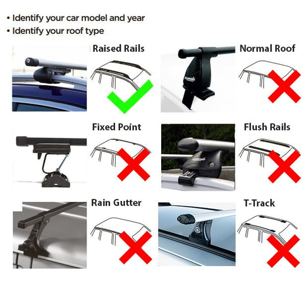Aluminium Roof Rack Cross Bars fits Daewoo Nubira 1997-2003 Estate Mk1&2 5 door - UKB4C