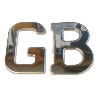 Stainless Steel 'GB' Letters Classic Badge Self Adhesive GB1SS - Bars4Cars