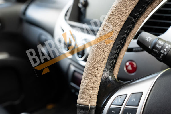 Beige Black Leather Stitched Steering Wheel Cover for Ssangyong Korando - UKB4C