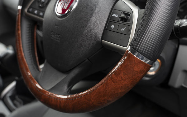 Luxury Steering Wheel Cover Black with Wood Effect BMW Mini BMW Mini Clubman Convertible Cooper Countryman Coupe Hatchback Paceman Roadster - UKB4C