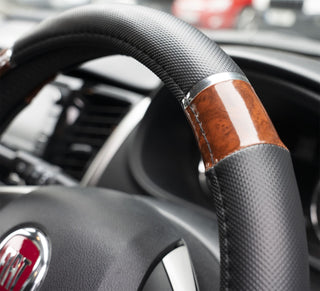 UKB4C Wood Effect & Black Luxury Steering Wheel Cover for Citroen C1 05-On - UKB4C