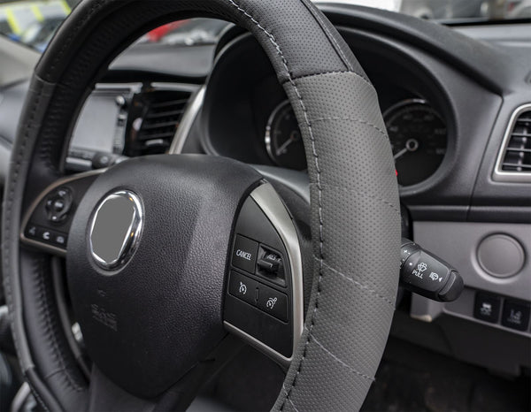 UKB4C Grey Leather Look Stitched Steering Wheel Cover for Audi R9 - UKB4C