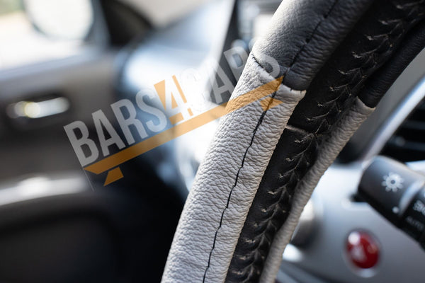 Grey Black Leather Stitched Steering Wheel Cover for Fiat Panda 04-On - UKB4C