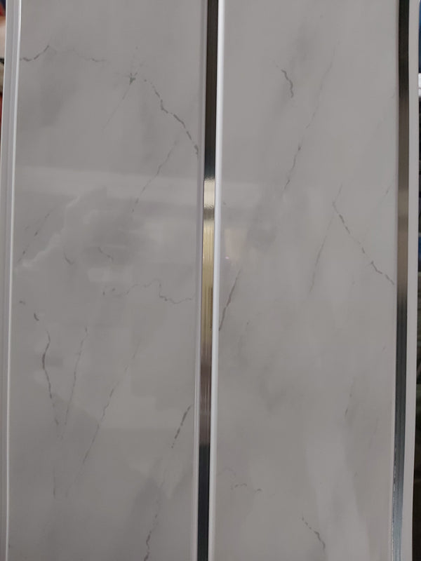 White Marble Effect Silver Stripe Cladding Panel