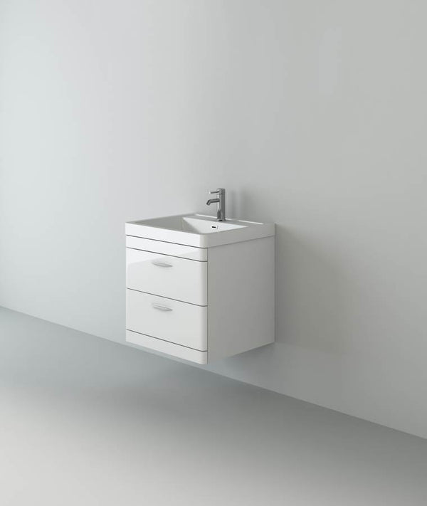 Apollo 600 Wall Hung Unit And Polymarble Basin White