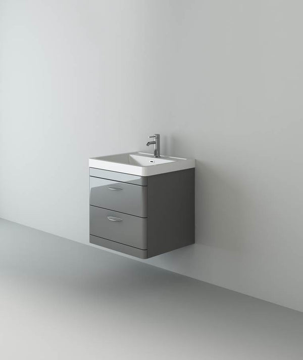 Apollo 600 Wall Hung Unit And Polymarble Basin Grey Gloss
