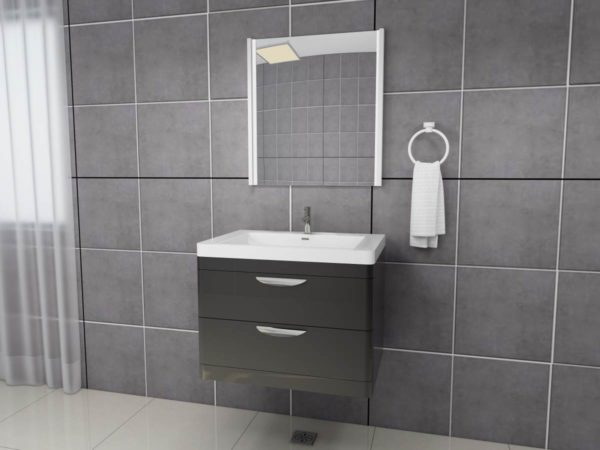 Apollo 700 Wall Hung Unit And Polymarble Basin Grey Gloss