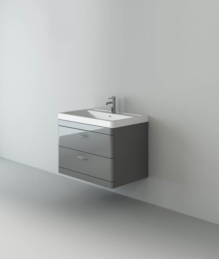 Apollo 800 Wall Hung Unit And Polymarble Basin Grey Gloss