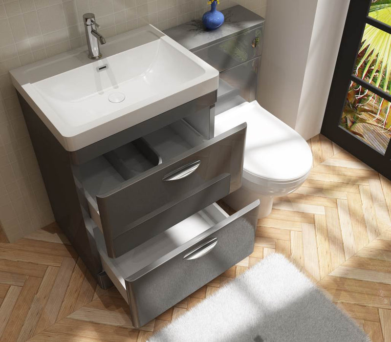 Apollo 600 FS Unit And Polymarble Basin Grey Gloss
