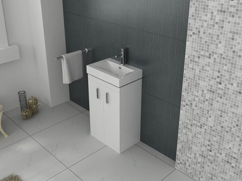 Cube 450mm Cloakroom Unit And Basin – White