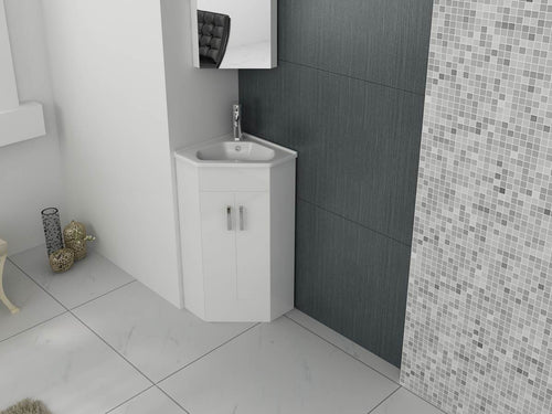 Krona Corner 400 Unit And Basin – White