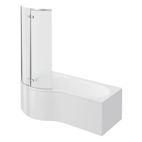 P Shape Left/Right Hand Shower Bath (1700mm) With Panel & Screen