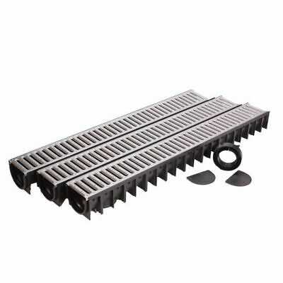 Underground Drainage 3 Channels Steel Grate, 2 Stop End, 1 Outlet