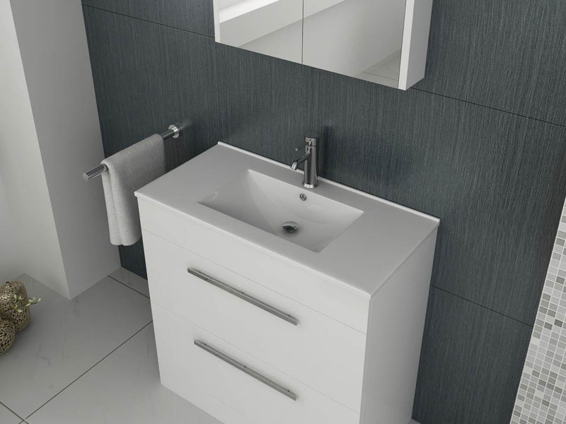 Venus 700 White FS Unit And Slim Edge Basin (Drawer & Flap)