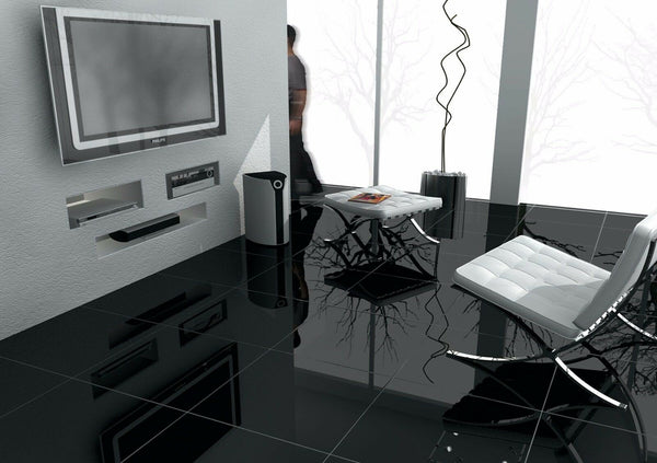 Black High Gloss Porcelain Tiles 30x60
