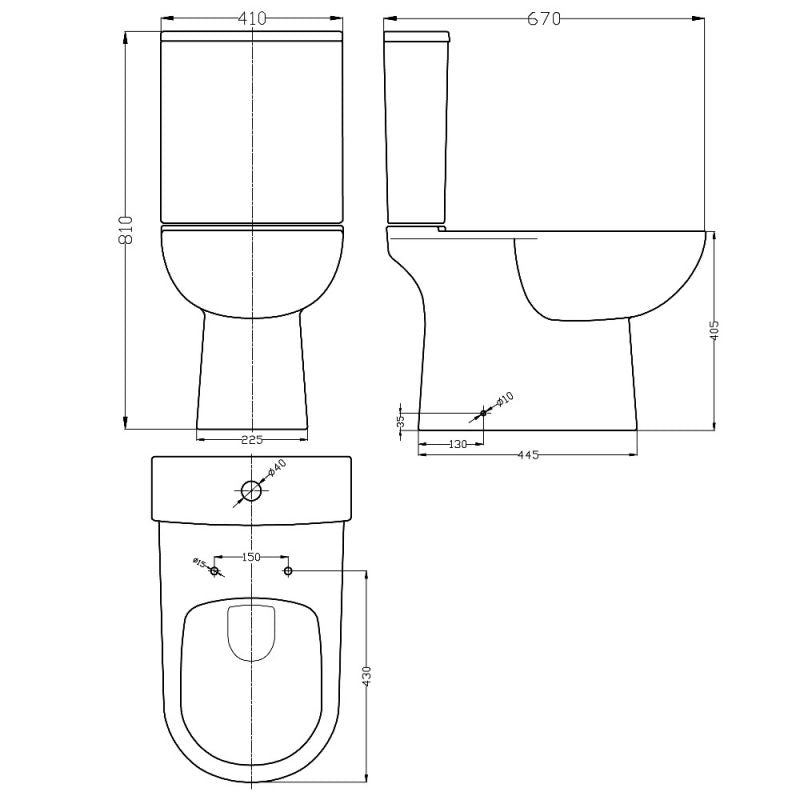 Toilet, Basin, Cistern & Pedestal 5 Piece Set