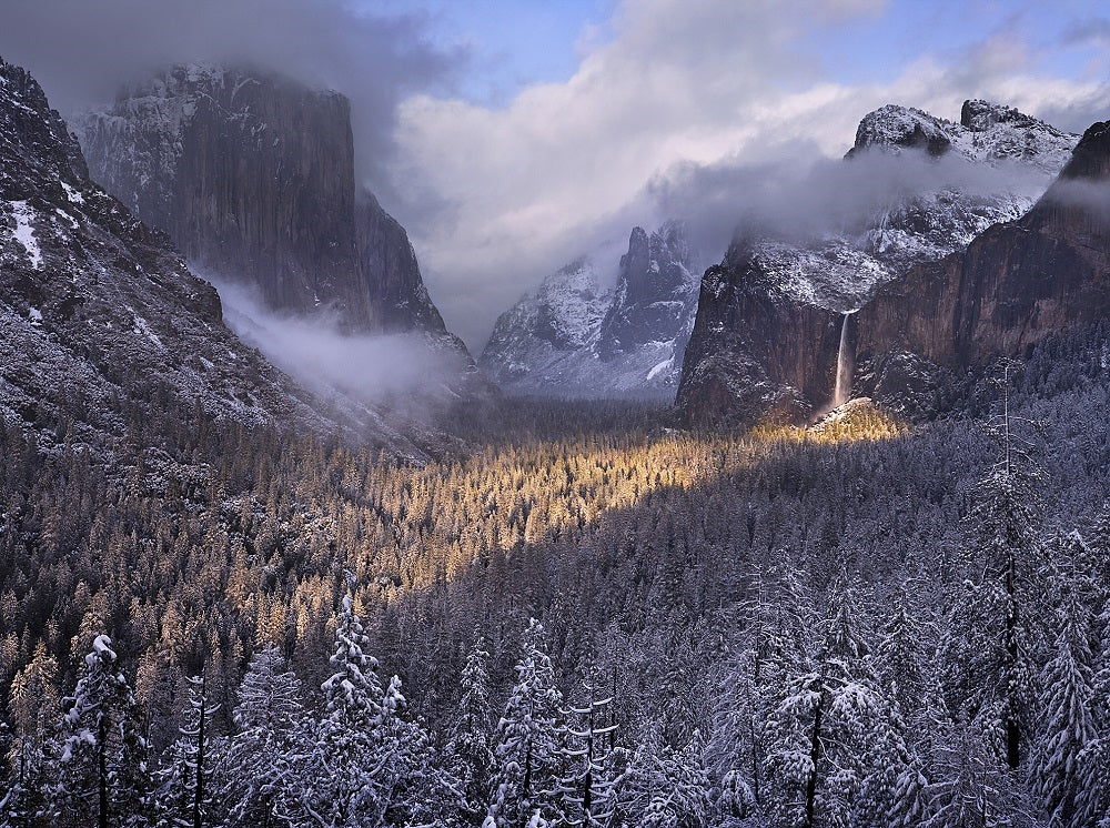 Spotlight on Bridalveil Fall from Tunnel View, Yosemite