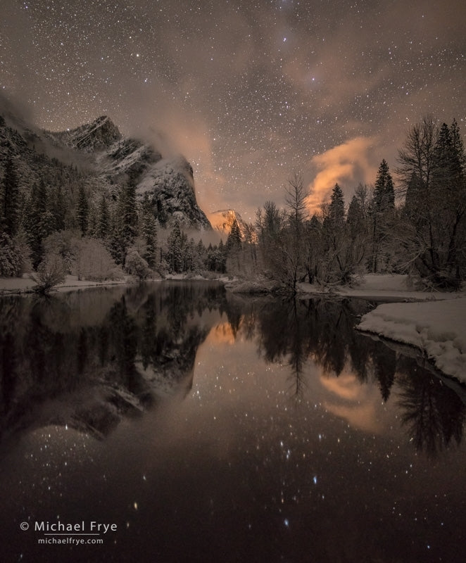 Stars, Mist, Three Brothers and the Merced River, Yosemite National Park