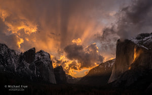Sunset over Yosemite Valley with Horsetail Fall