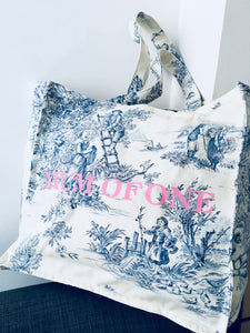 DAILY BAG BLEU IMPRIMÉ ROSE
