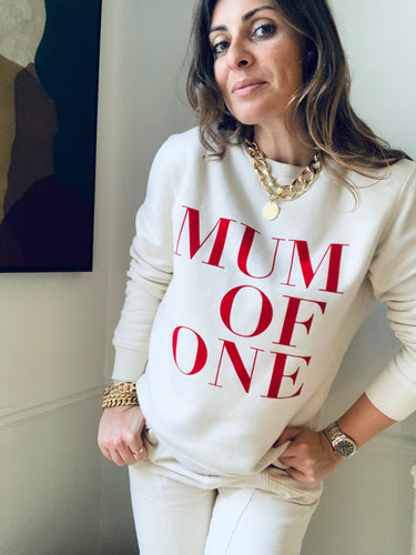 SWEAT-SHIRT CRÈME VELOUR ROUGE MUM OF ONE, MUM OF TWO, THREE...