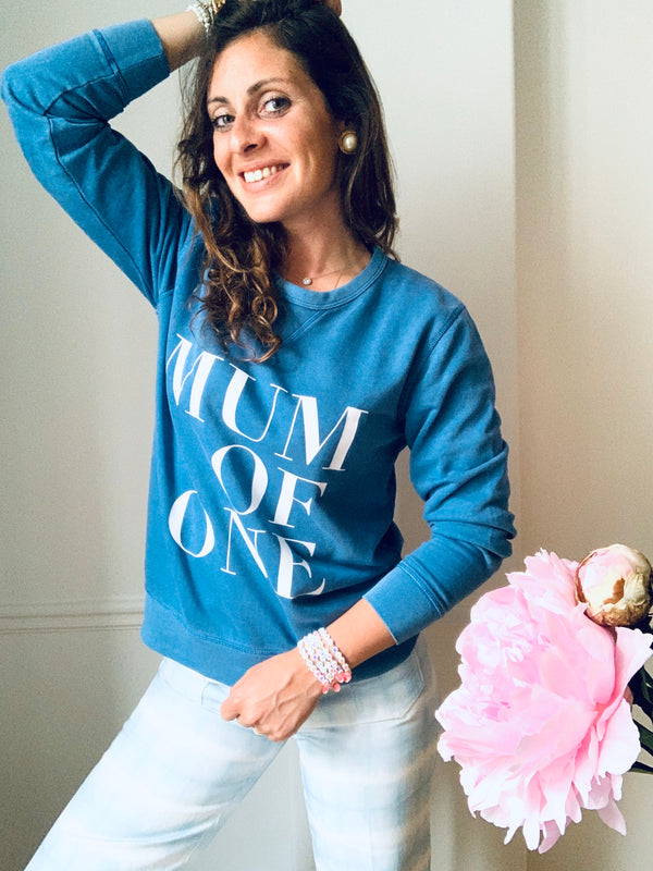 SWEAT SHIRT MUM OF ONE, MUM OF TWO, MUM OF THREE, FOUR....TWINS : BLEU VINTAGE