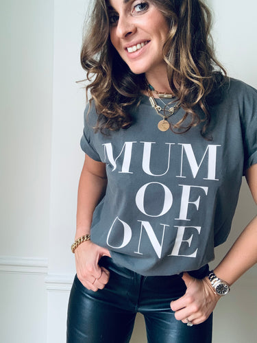 T-SHIRT ANTHRACITE VINTAGE MUM OF ONE, MUM OF TWO, MUM OF THREE, MUM OF FOUR...
