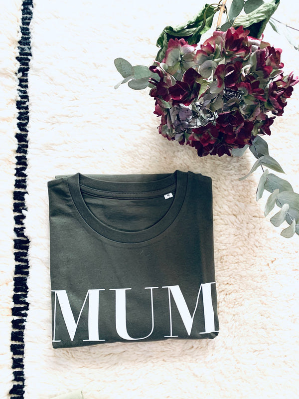 T-SHIRT KAKI MUM OF ONE, MUM OF TWO, MUM OF THREE, MUM OF FOUR...