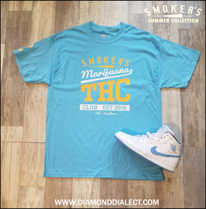 Mic Smokers T-Shirt LighBlue/Yell/Wh