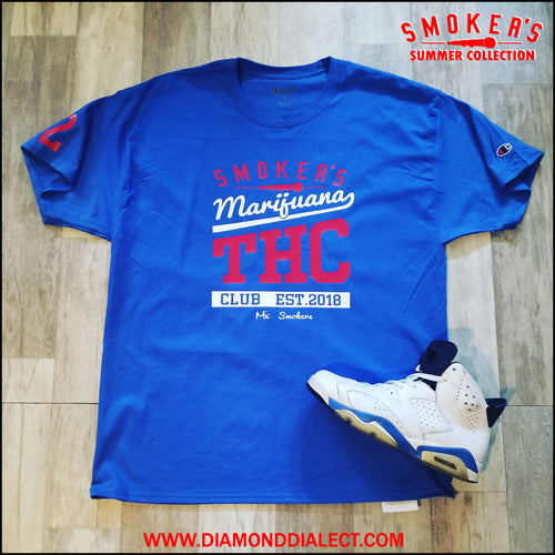 Mic Smokers Champion T-Shirt Blu/R/Wh