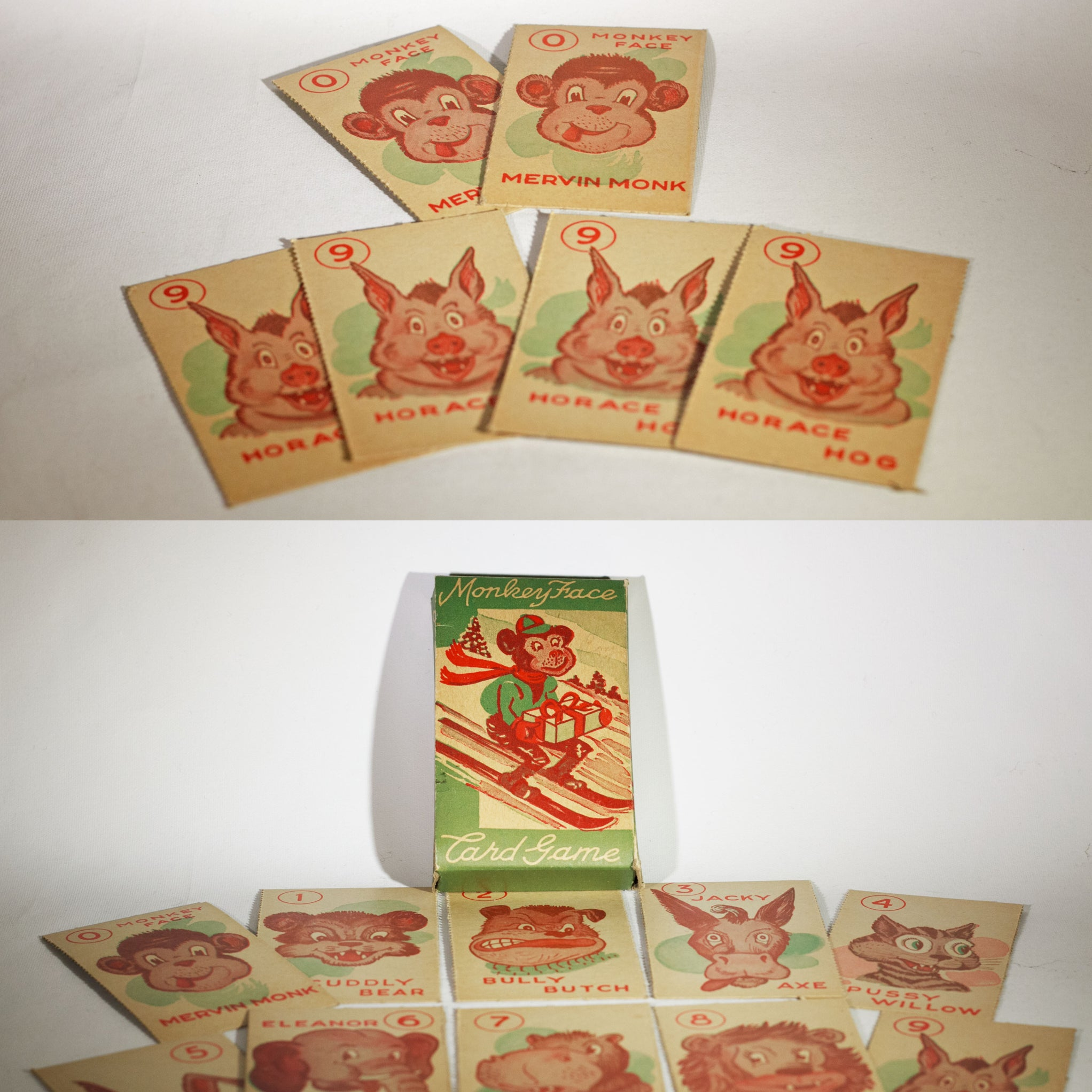 MERVIN MONK AND FRIENDS MONKEY FACE Card Game Christmas Edition Circa 1935