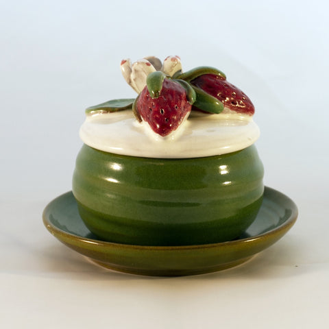 Rackliffe Pottery COVERED JELLY SET with STRAWBERRY LID Circa 1980s