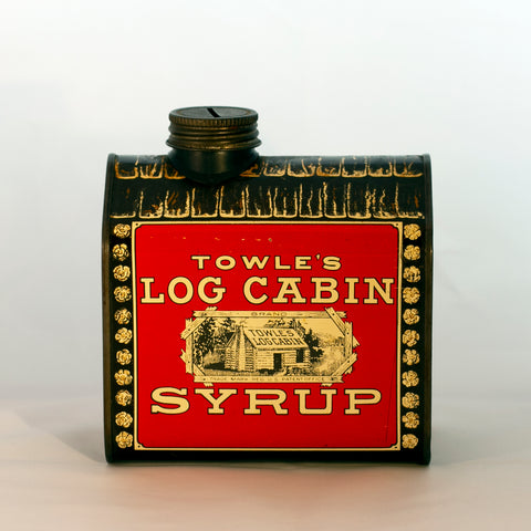"Lithographed TOWLE'S LOG CABIN SYRUP TIN COIN BANK ""Boy in Doorway"" Circa 1979"
