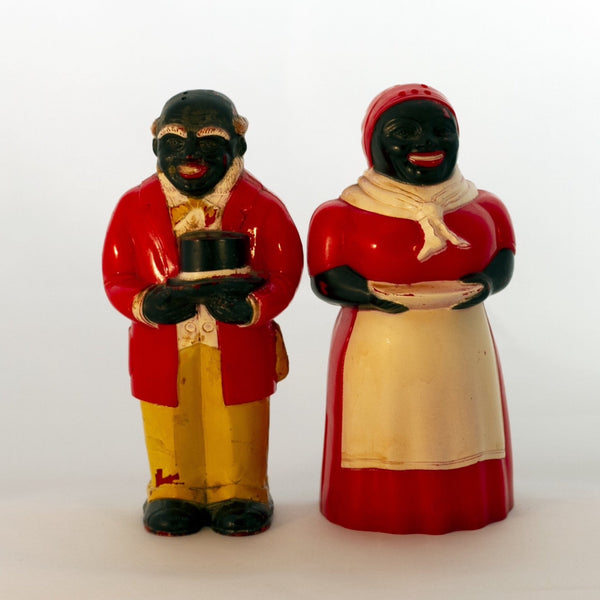 "Black Americana Molded Hard Plastic 1940s JEMIMA & MOSE SHAKERS 5"" Made by F & F Mold and Die Works"