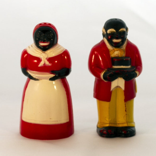 "Black Americana Molded Hard Plastic 1940s JEMIMA & MOSE SHAKERS 3 ½"" Made by F & F Mold and Die Works (A)"