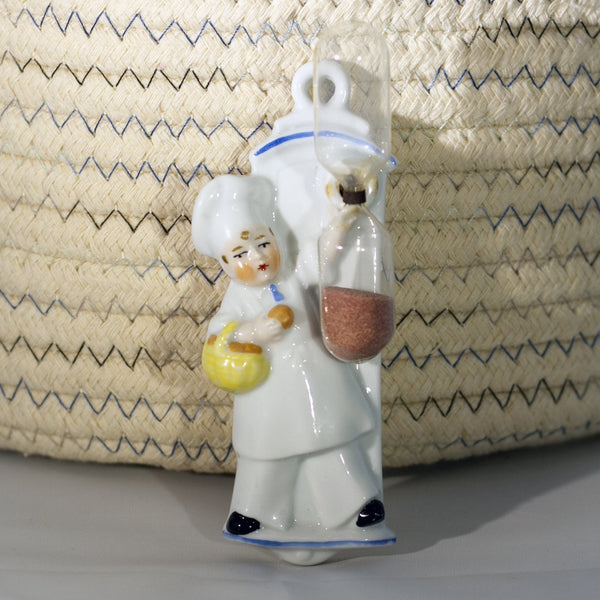 CERAMIC CHEF ON PLAQUE HANGING EGG TIMER Marked GERMANY Circa 1930s